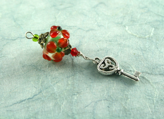 Blessingway bead - Red flower key, blue, md