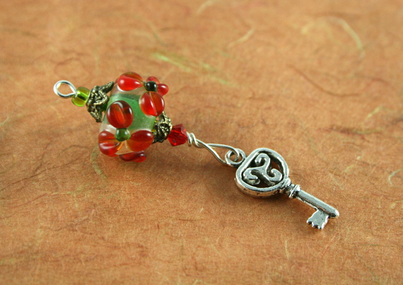Blessingway bead - Red flower key, earth, md