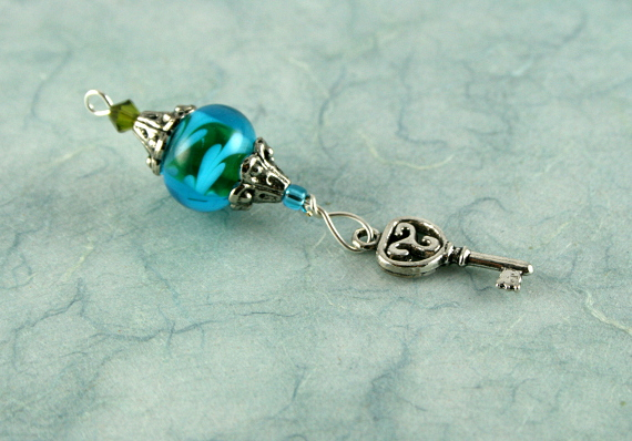 Blessingway bead - Summer leaves key, blue, md
