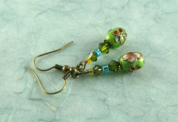 Earrings - Green sky, blue, md