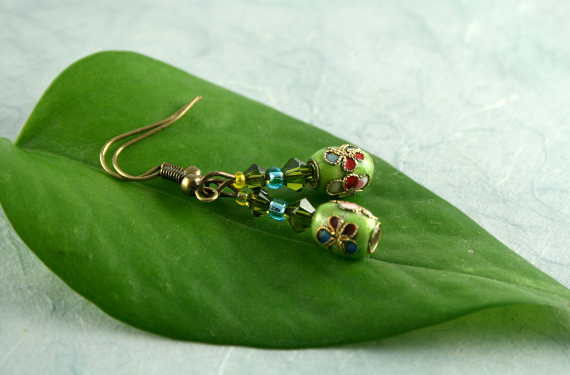Earrings - Green sky, leaf, md