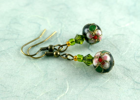 Earrings - Lush green forest, blue, md