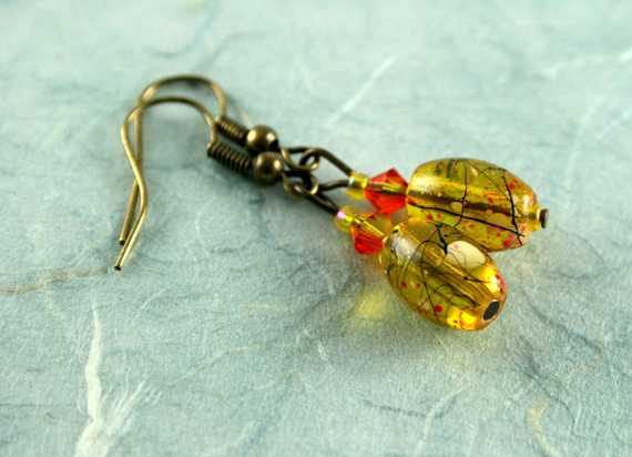 Earrings - Playful in amber, blue, md