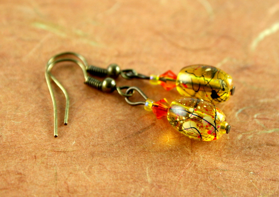 Earrings - Playful in amber, earth, md