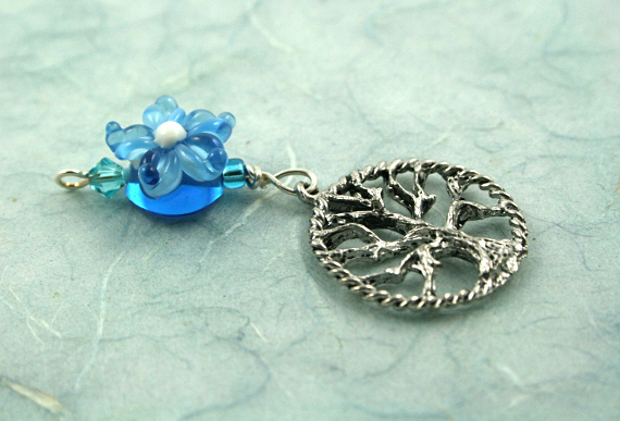 Blessingway bead - Blue flower tree of life, blue, md