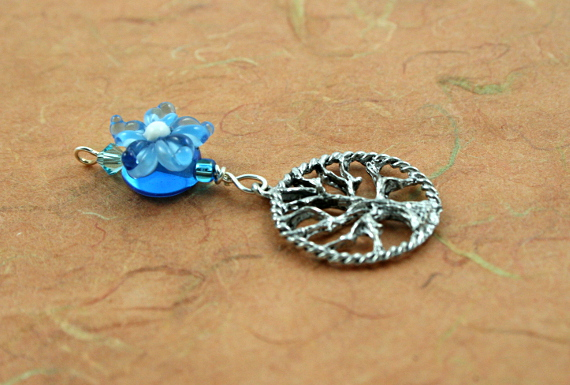 Blessingway bead - Blue flower tree of life, earth, md