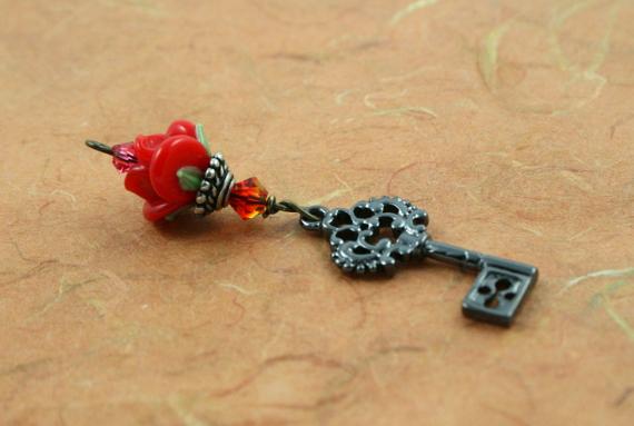 Blessingway bead - Fire opal black key rose, earth, md
