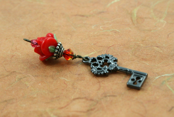 Blessingway bead - Fire opal black key rose, earth, md
