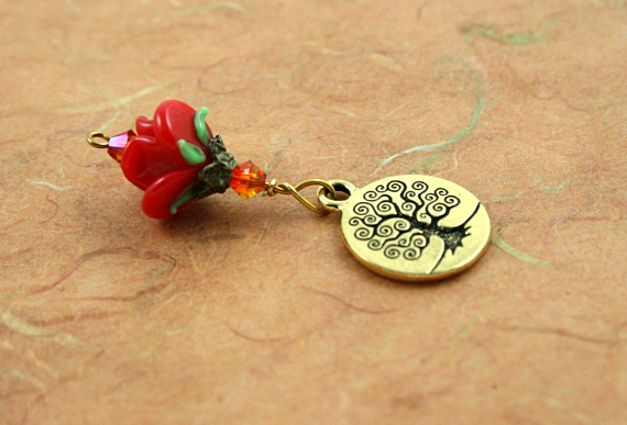 Blessingway bead - Fire opal golden tree of life, earth, md