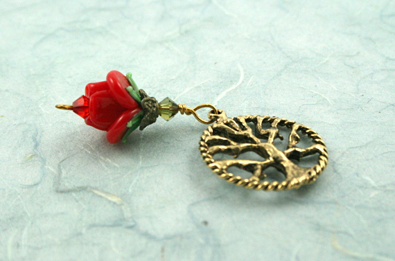 Blessingway bead - Golden red rose tree of life, blue, md