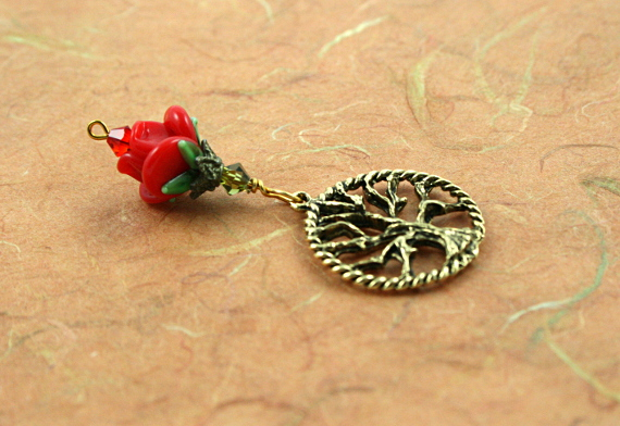 Blessingway bead - Golden red rose tree of life, earth, md