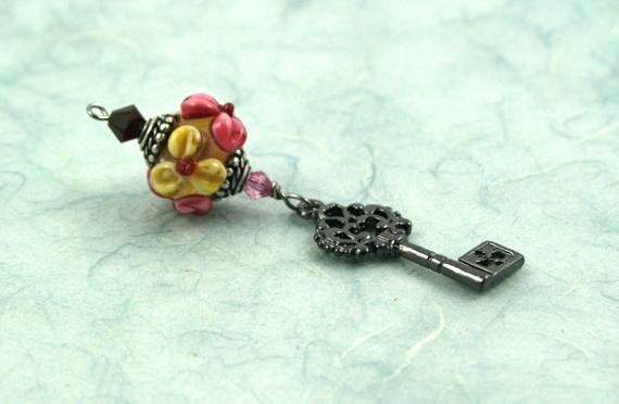 Blessingway bead - Meadow flower secret key, blue, md