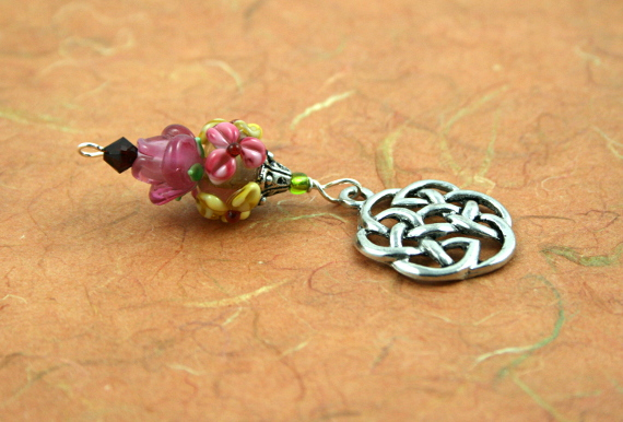 Blessingway bead - Rose meadow flower celtic knot, earth, md