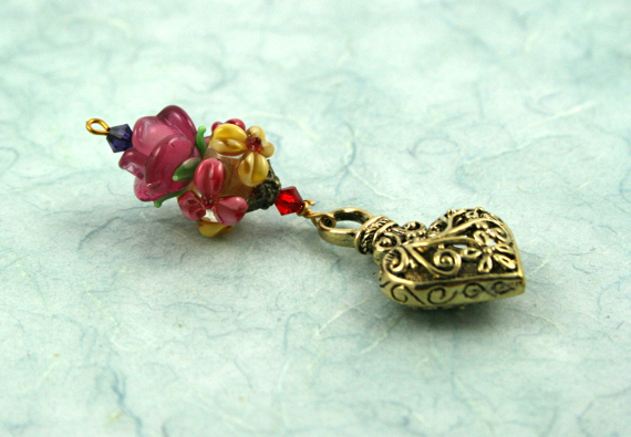 Blessingway bead - Rose meadow flower golden heart, blue, md
