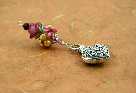 Blessingway bead - Rose meadow flower silver heart, earth, md