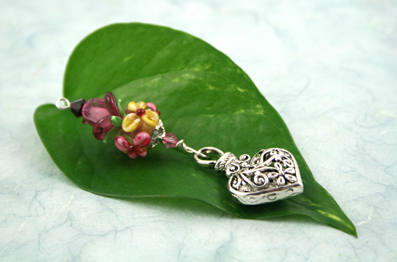 Blessingway bead - Rose meadow flower silver heart, leaf, md