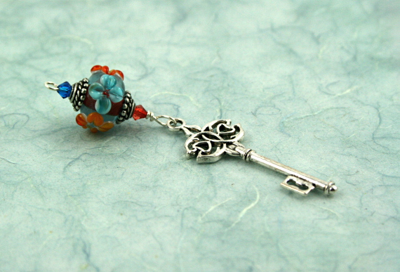 Blessingway bead - Summer blooms key, blue, md
