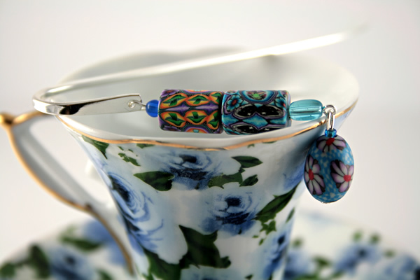 Blue daisy silver plated bookmark, etsy, blue cup, medium