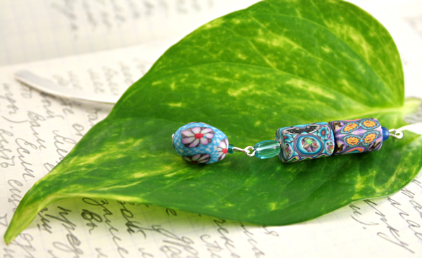 Blue daisy silver plated bookmark, etsy, leaf, medium