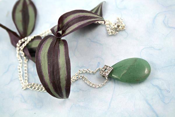 Jade mountain necklace, etsy, leaf, blue, medium