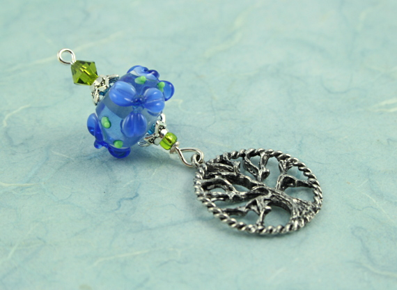 Blessingway bead - Blue river flower silver tree of life, blue dark, md