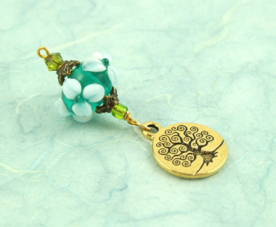 Blessingway bead - Forest spring golden tree of life, blue, md
