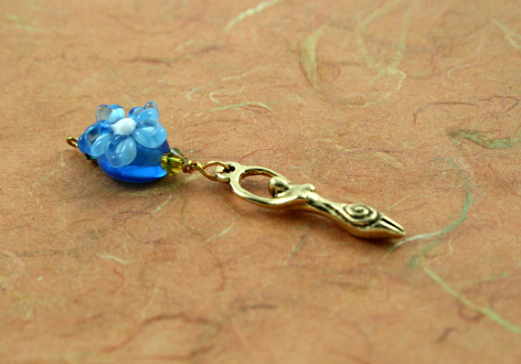 Blessingway bead - Golden blue flower goddess, earth, md