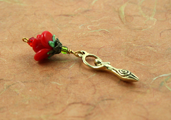 Blessingway bead - Golden red rose goddess, md