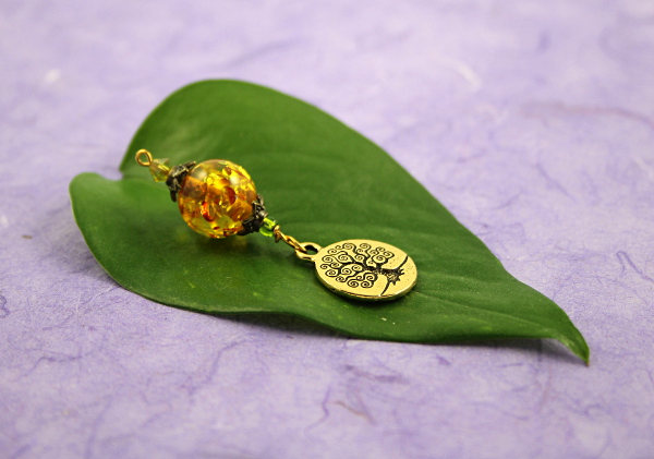 Blessingway bead - Golden sunlight tree of life, md