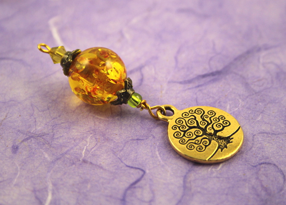 Blessingway bead - Golden sunlight tree of life, take 2, md