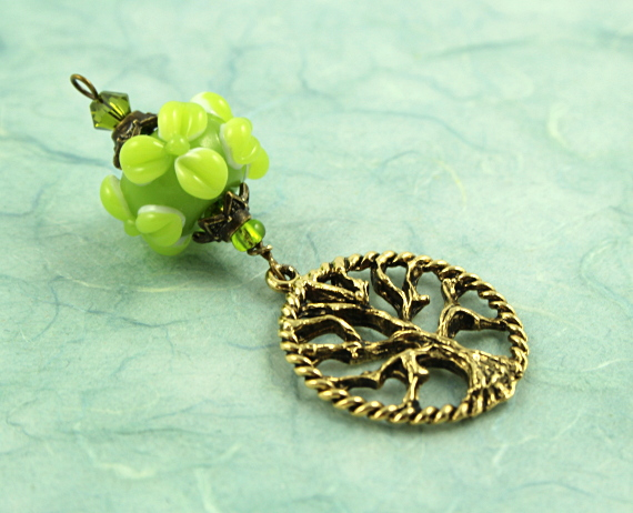 Blessingway bead - Golden young leaves tree of life, blue, md
