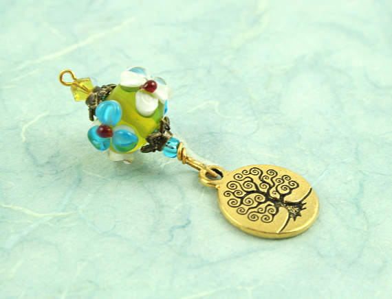 Blessingway bead - Meadow flowers golden tree of life, blue, md