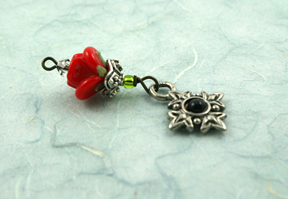 Blessingway bead - Red rose black eye, blue, md
