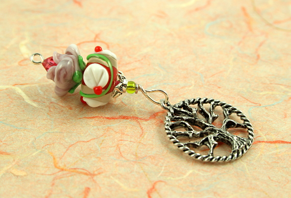 Blessingway bead - Rose and lily tree of life, peach, md