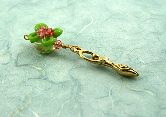 Blessingway bead - Rose green swirl flower golden goddess, blue, md