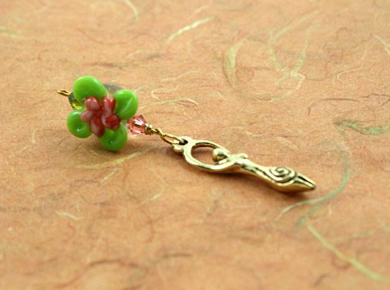Blessingway bead - Rose green swirl flower golden goddess, earth, md