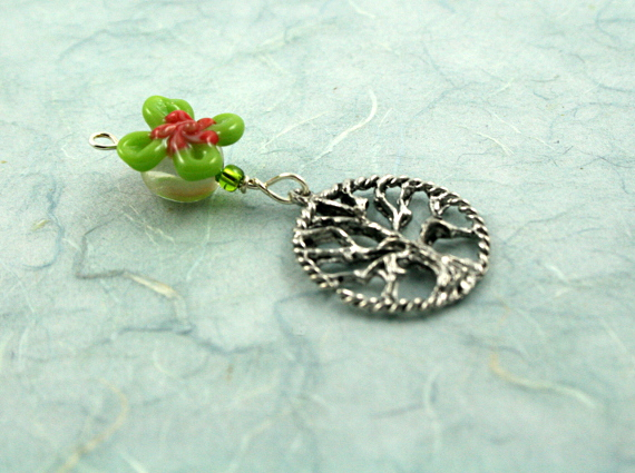 Blessingway bead - Rose green swirl flower tree of life, blue, md