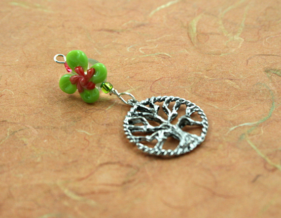 Blessingway bead - Rose green swirl flower tree of life, earth, md