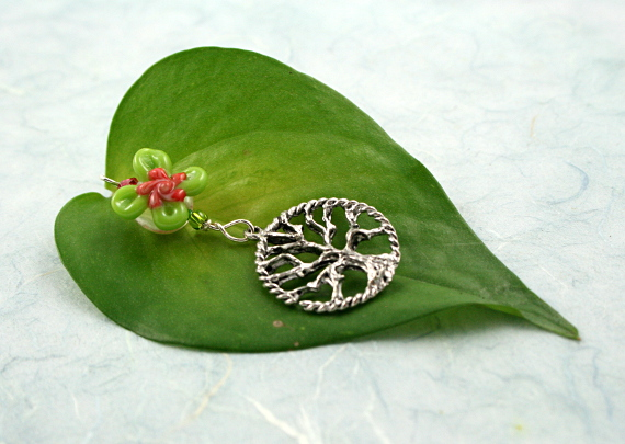 Blessingway bead - Rose green swirl flower tree of life, md