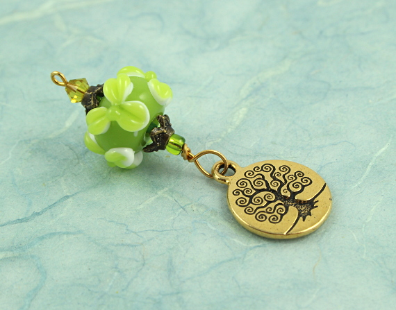 Blessingway bead - Spring leaves golden tree of life, blue, md