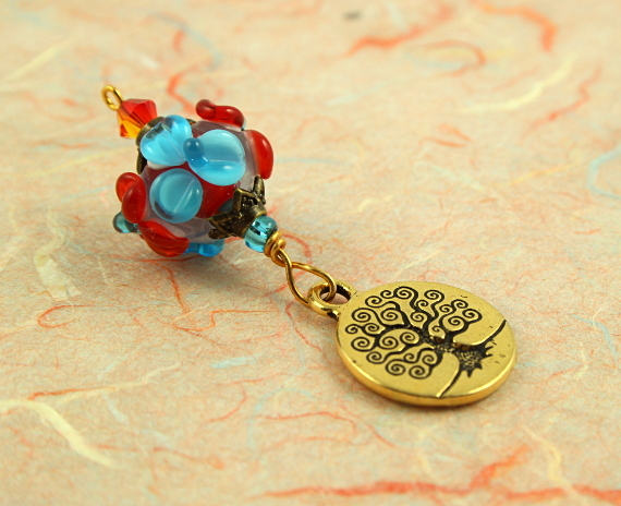 Blessingway bead - Summer blooms golden tree of life, peach, md