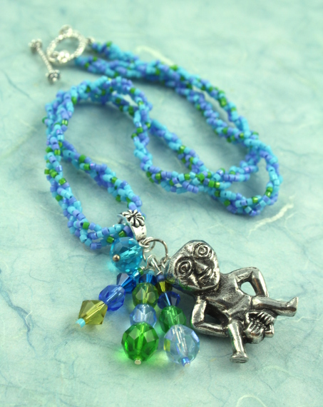 Sheela-na-gig necklace - blue and green, full, md