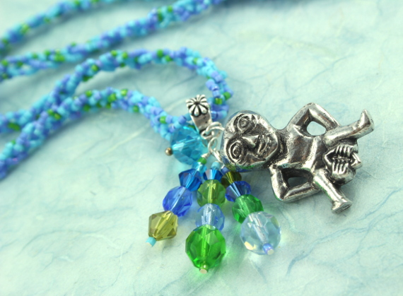 Sheela-na-gig necklace - blue and green, wave, md