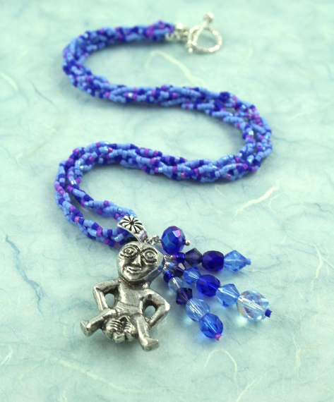 Sheela-na-gig necklace - purple and blue, full, md