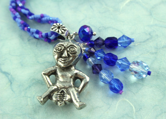 Sheela-na-gig necklace - purple and blue, pendant, md
