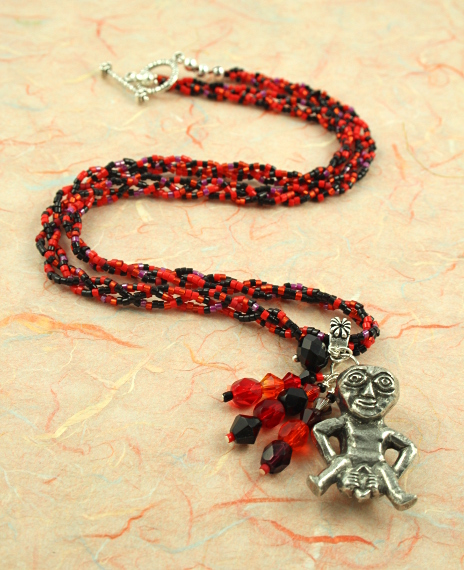 Sheela-na-gig necklace - red and black, full, md