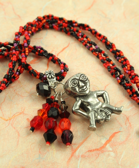 Sheela-na-gig necklace - red and black, pendant, md