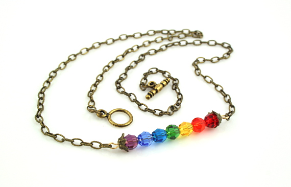 7 chakras necklace - Brass horizontal rainbow, take 2, full, md