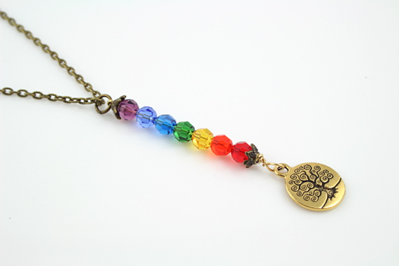 7 chakras necklace - Golden coin tree of life, md