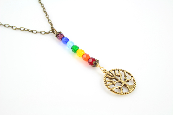 7 chakras necklace - Golden tree of life, md